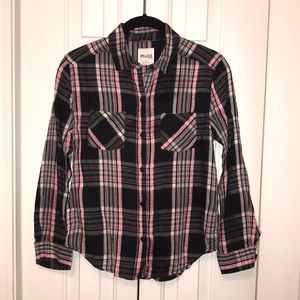 Mudd Girls Black White & Pink Plaid Button Down